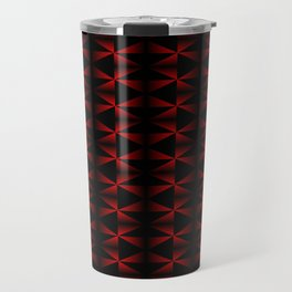 A vibrant grid of black rhombuses with intersecting red diagonal lines and triangles. Travel Mug
