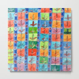 Colorful Planting Plants in Squares Pattern Metal Print
