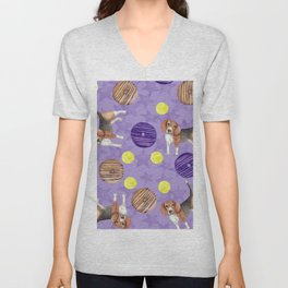 Beagles and donuts Unisex V-Neck