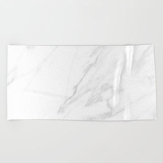 Classic White Marble Beach Towel