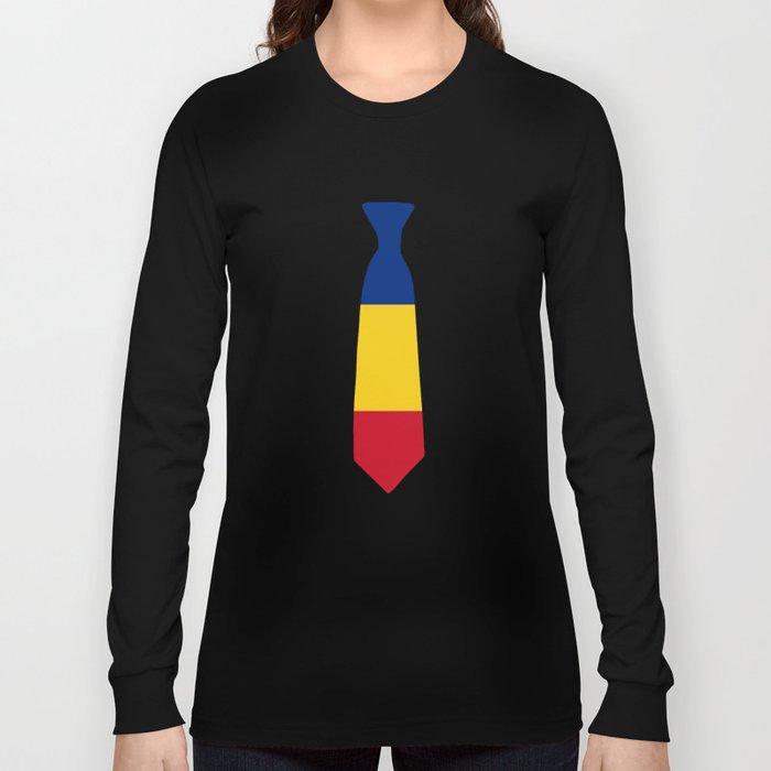 Romania Patriotic Tie Shirt Long Sleeve T-shirt