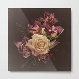 Chocolate flowers. Rose and lily on dark background. Metal Print