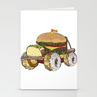 junk food Stationery Cards featuring junk food car by immiggyboi90