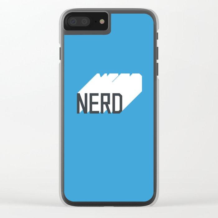 Retro Nerd Blue Clear iPhone Case