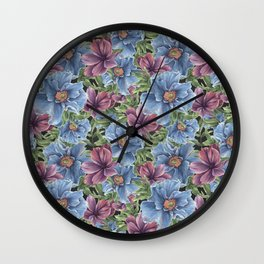 Hibiscus Flowers on Chalkboard Wall Clock
