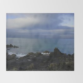The Atlantic Ocean and Clouds in the Sky Throw Blanket