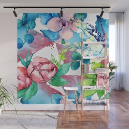 Floral Bouquet in Pastel Pinks and Blues Wall Mural