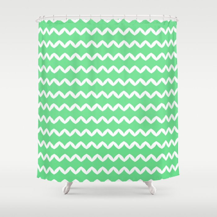Girly Modern Chevron Abstract Mint Green Pattern Shower Curtain By Girlyroad Society6