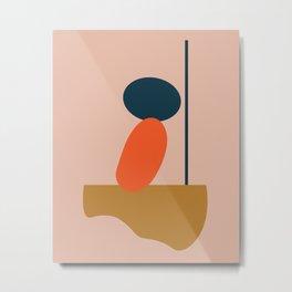 Abstract #1 Orange Blue Beige Metal Print