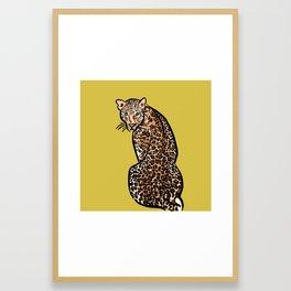 Jungle Cat | Green Yellow Framed Art Print