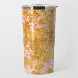 Luxury Marble and Gold Textures on Pastel Pink Travel Mug