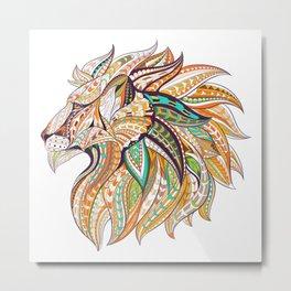 Ethnic Tribal Lion Doodle 01 Metal Print