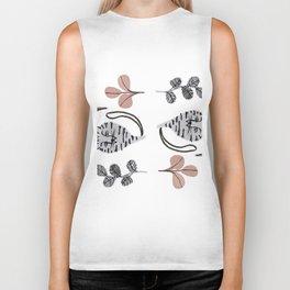 cats and flowers pattern Biker Tank
