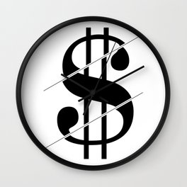 """Sliced Collection"" - Minimal Dollar Sign Print Wall Clock"