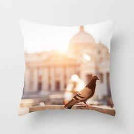 pigeon on san peter church Throw Pillow