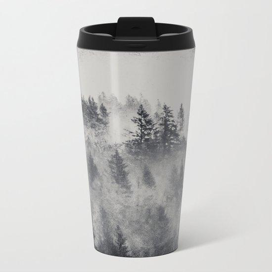 Black and White Charcoal Fog Forest Metal Travel Mug