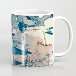 Pleiades: a minimal, abstract mixed media piece by Alyssa Hamilton Art in Pink, Gold, and Blue Coffee Mug