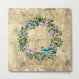 Wreath #Flowers & Butterflies#Royal collection Metal Print