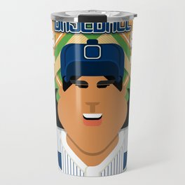Baseball Blue Pinstripes - Deuce Crackerjack - Indie version Travel Mug