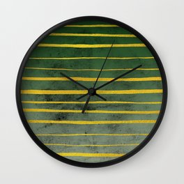 Gold Stripes on Green Wall Clock
