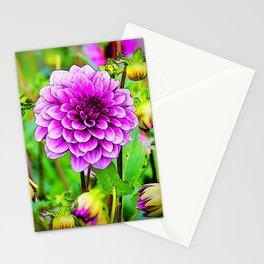 LILAC PURPLE DAHLIA FLOWERS & BUDS Stationery Cards