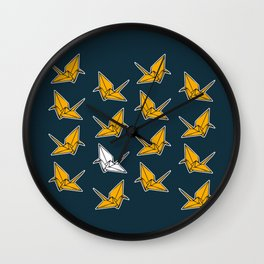 PAPER CRANES NAVY AND YELLOW Wall Clock