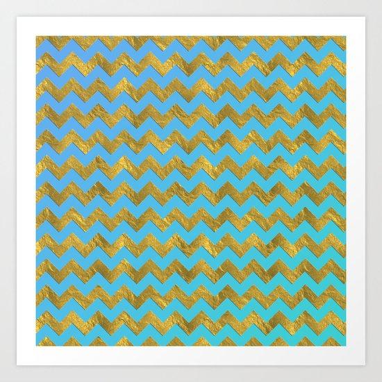 Gold glitter chevron on turquoise backround- pattern Art Print