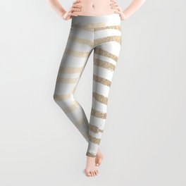 White Gold Sands Painted Lines Leggings