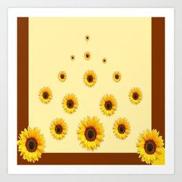 RAINING SUNFLOWERS FLOWERS CREAMY BROWN ART Art Print