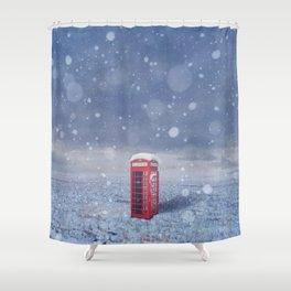 in snowy field Shower Curtain
