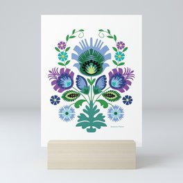 Polish Folk Flowers Light Blue Mini Art Print
