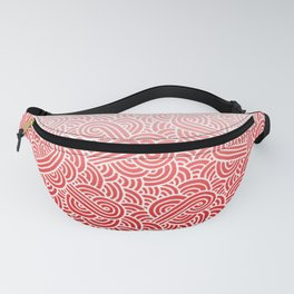 Faded red and white swirls doodles Fanny Pack