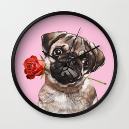 Pug with Red Rose Wall Clock