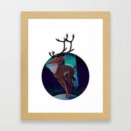 Reindeer under the Aurora Framed Art Print