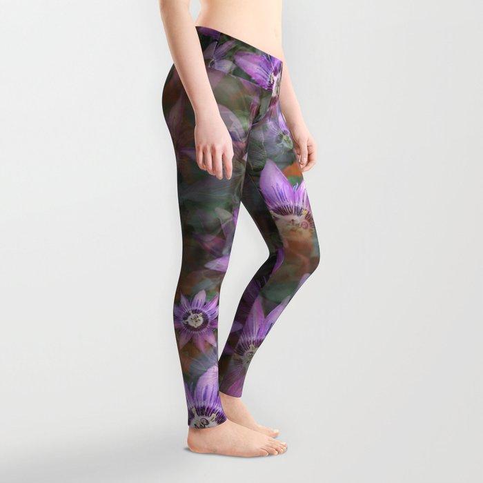 Purple Clematis Leggings