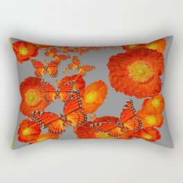 Decorative Orange Butterflies Poppy Floral Grey Art Rectangular Pillow
