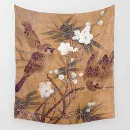 Sparrows, plum blossoms, and bamboo Wall Tapestry