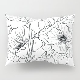 Poppies Line Drawing Pillow Sham