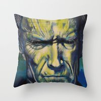 clint eastwood Throw Pillows featuring Clint Eastwood by Boaz