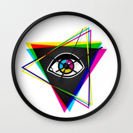 Pyramid with eye Wall Clock