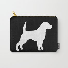 Beagle dog silhouette black and white simple basic dog breeds art beagles dog Carry-All Pouch