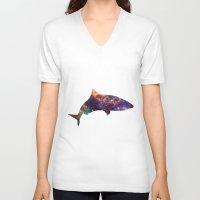 shark V-neck T-shirts featuring Shark by Lucas de Souza