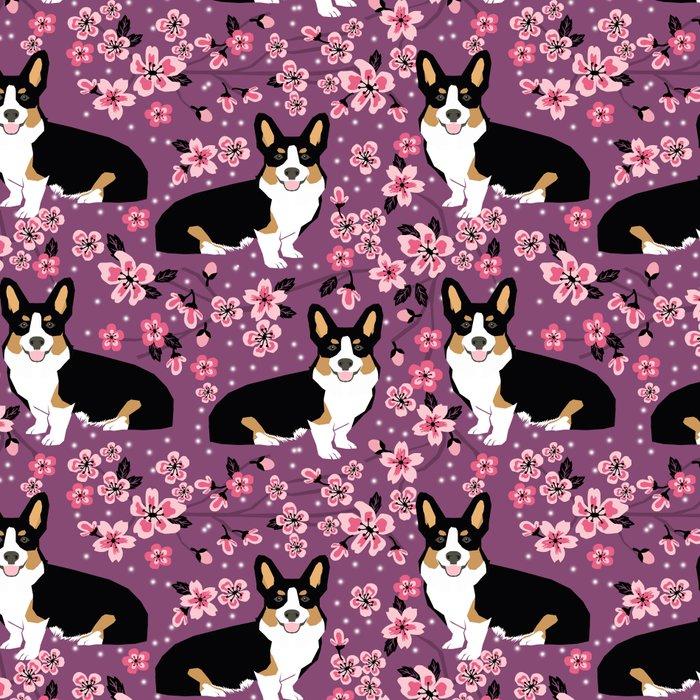 Welsh corgi tricolored cherry blossoms botanical florals japanese flowers dog breed corgis Leggings