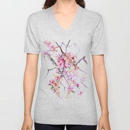 Cherry Blossom pink floral spring design cherry blossom decor Unisex V-Neck