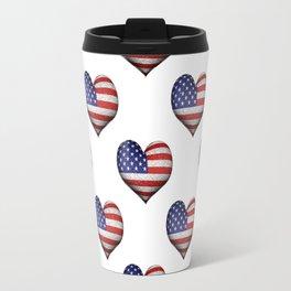 Usa Grunge Heart Shaped Flag Pattern Travel Mug