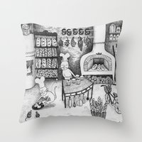 baking Throw Pillows featuring Baking Cats by Ulrika Kestere