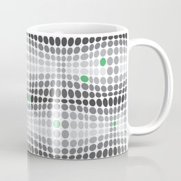 Dottywave - Grey and green wave dots pattern Coffee Mug