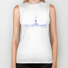 Watercolor landscape illustration_Eiffel Tower Biker Tank
