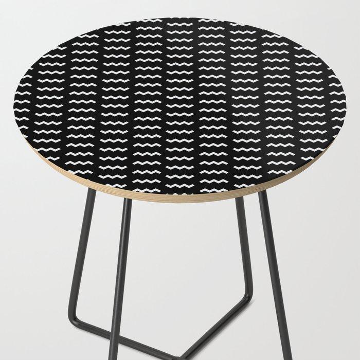 Black Amp White Zig Zag Side Table By Beatrizcatita Society6