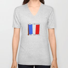 Flag of France III- France, Français,française, French,romantic,love,gastronomy Unisex V-Neck